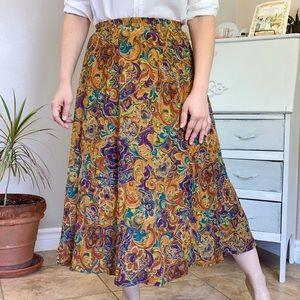 Vintage Bold Floral Boho Crinkle Midi Skirt Size M